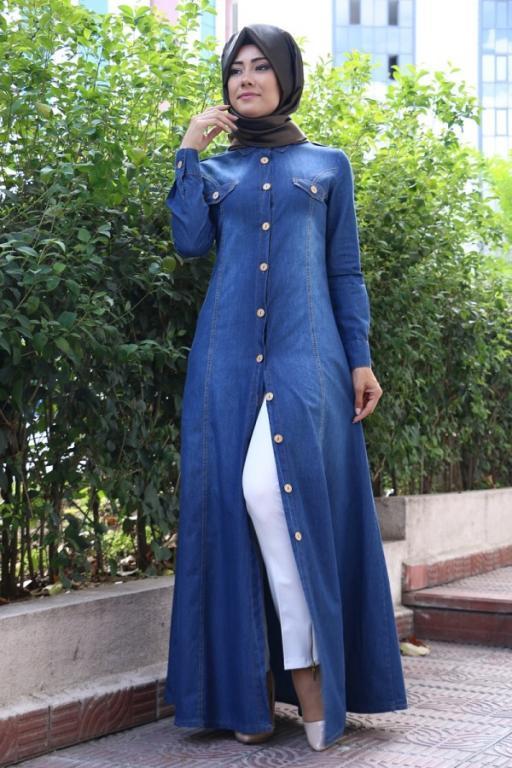 بالصور فساتين محجبات جينز , ازياء اسلاميه , رقتك وجمالك سر انوثتك 369 3