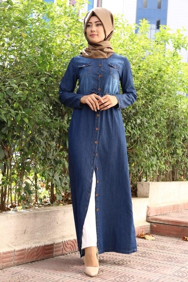 بالصور فساتين محجبات جينز , ازياء اسلاميه , رقتك وجمالك سر انوثتك 369 4