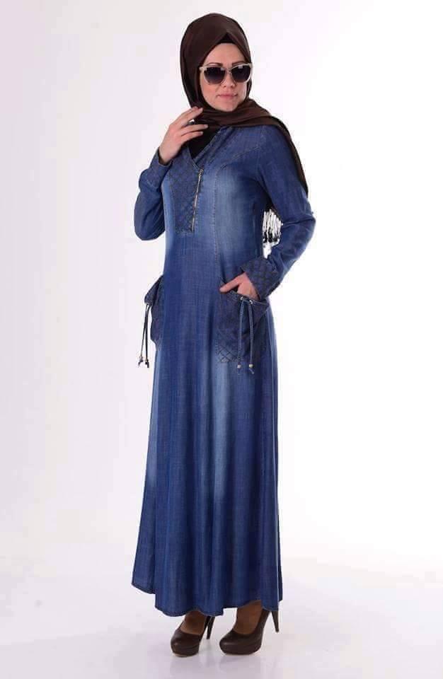 صورة فساتين محجبات جينز , ازياء اسلاميه , رقتك وجمالك سر انوثتك 369 5
