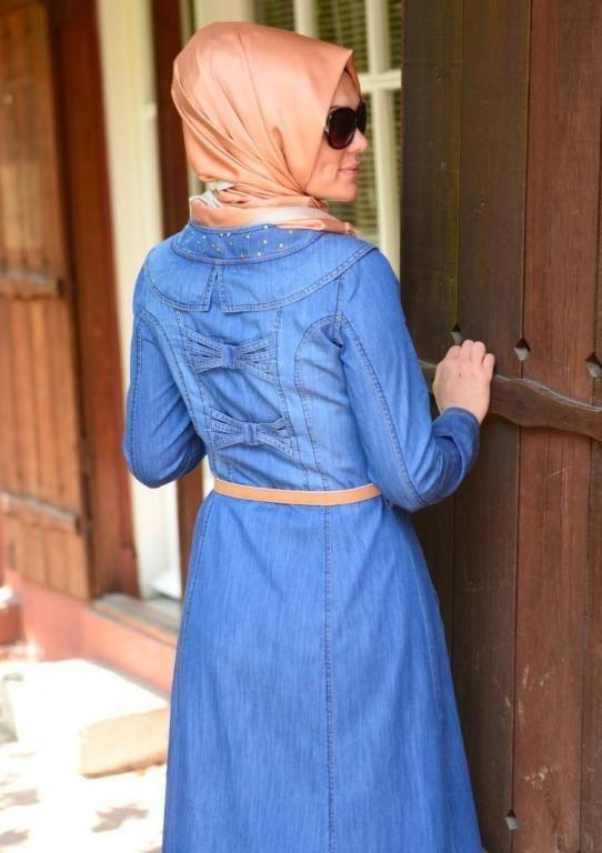 بالصور فساتين محجبات جينز , ازياء اسلاميه , رقتك وجمالك سر انوثتك 369 6