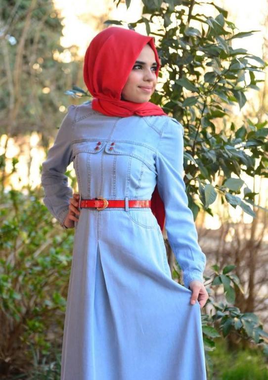 صورة فساتين محجبات جينز , ازياء اسلاميه , رقتك وجمالك سر انوثتك 369 8