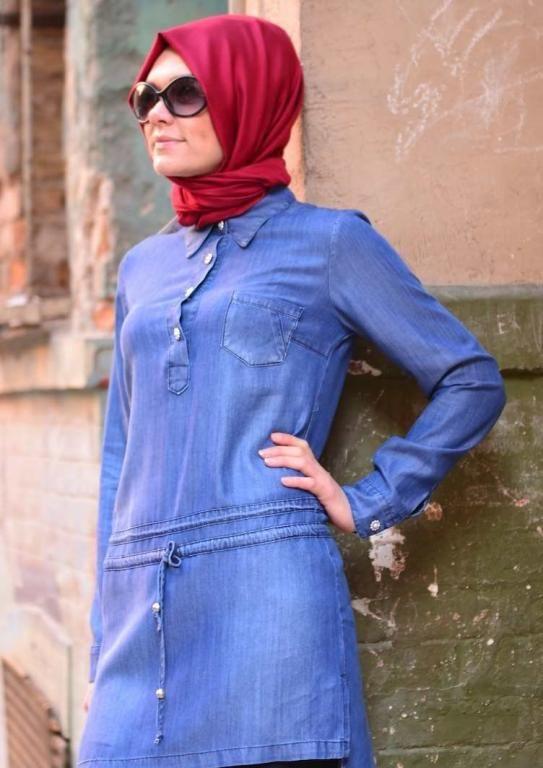 صورة فساتين محجبات جينز , ازياء اسلاميه , رقتك وجمالك سر انوثتك 369 9