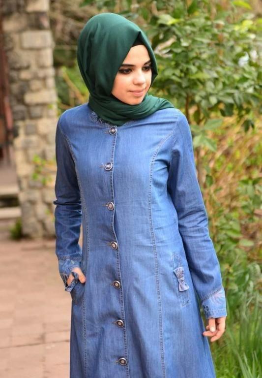 صوره فساتين محجبات جينز , ازياء اسلاميه , رقتك وجمالك سر انوثتك