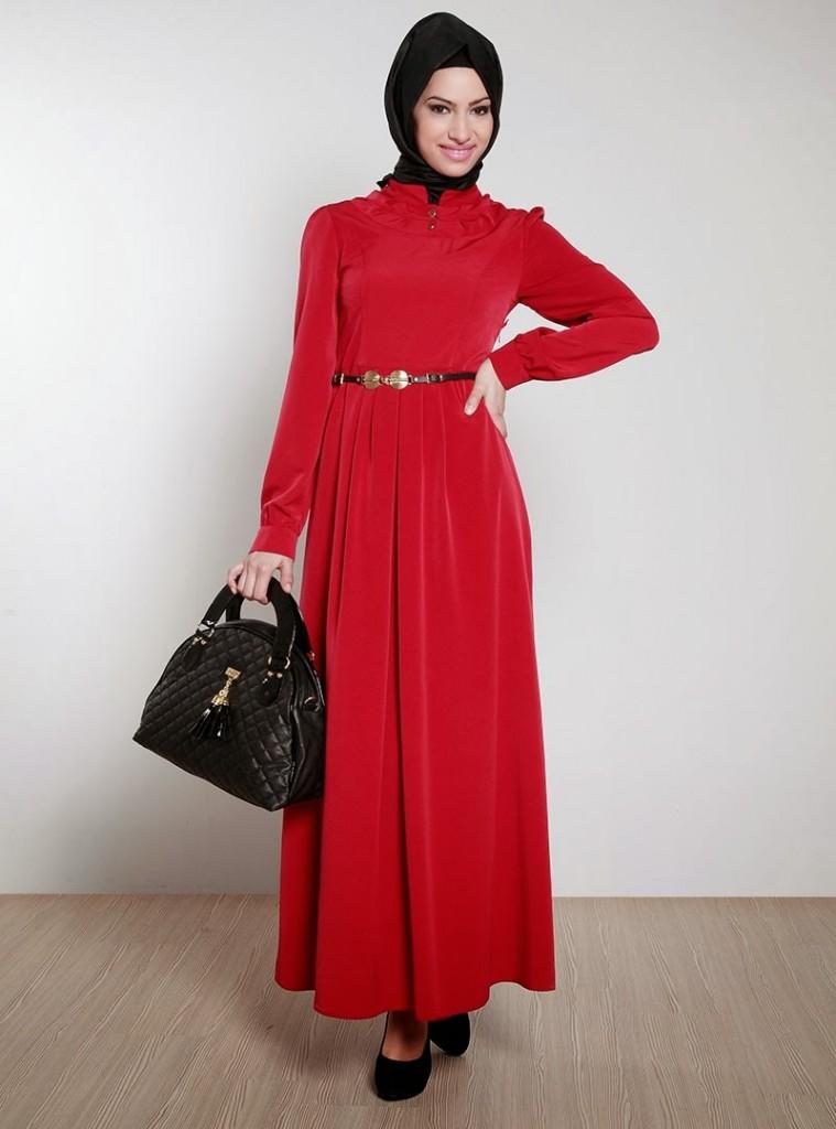 بالصور فساتين حلوة وناعمة , طويلة ومحتشمة للمحجبات , اجمل وارق ملابس الزى الاسلامى 444 1