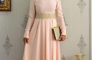 صورة فساتين حلوة وناعمة , طويلة ومحتشمة للمحجبات , اجمل وارق ملابس الزى الاسلامى