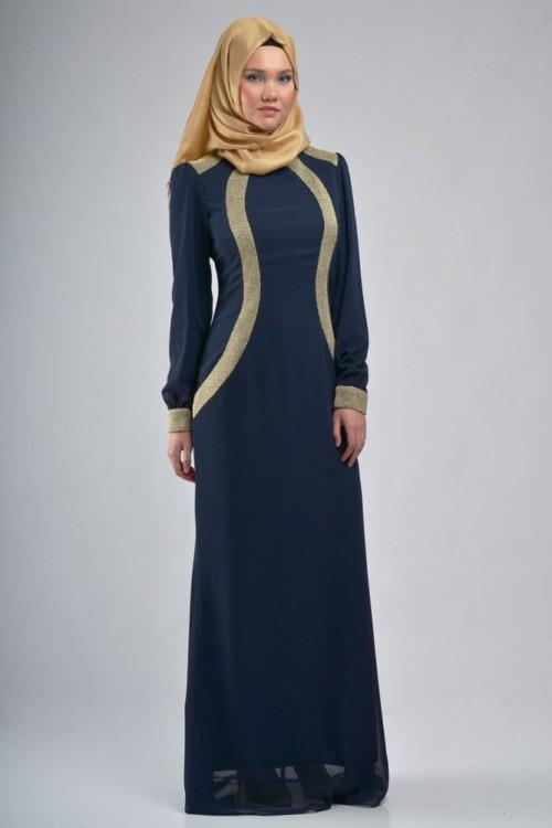بالصور فساتين حلوة وناعمة , طويلة ومحتشمة للمحجبات , اجمل وارق ملابس الزى الاسلامى 444 2