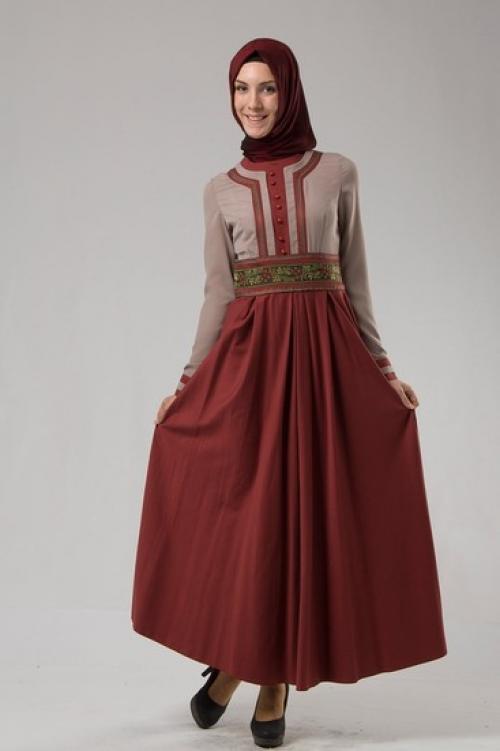 بالصور فساتين حلوة وناعمة , طويلة ومحتشمة للمحجبات , اجمل وارق ملابس الزى الاسلامى 444 3