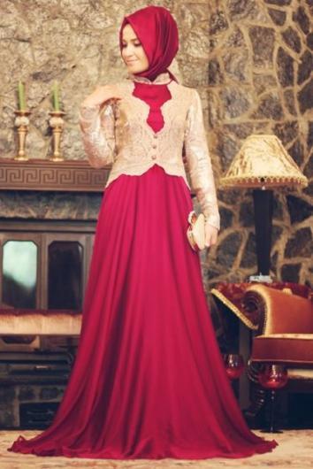 بالصور فساتين حلوة وناعمة , طويلة ومحتشمة للمحجبات , اجمل وارق ملابس الزى الاسلامى 444 5
