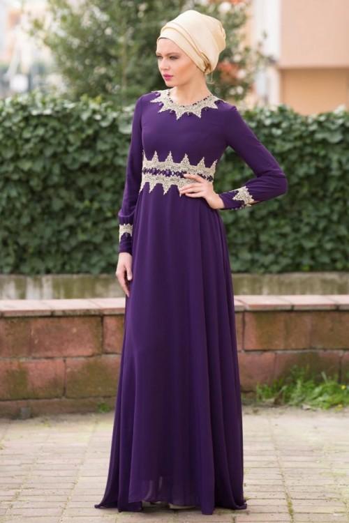 بالصور فساتين حلوة وناعمة , طويلة ومحتشمة للمحجبات , اجمل وارق ملابس الزى الاسلامى 444 6
