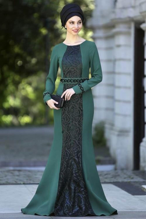 بالصور فساتين حلوة وناعمة , طويلة ومحتشمة للمحجبات , اجمل وارق ملابس الزى الاسلامى 444 7