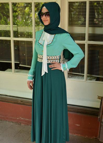بالصور فساتين حلوة وناعمة , طويلة ومحتشمة للمحجبات , اجمل وارق ملابس الزى الاسلامى 444 8