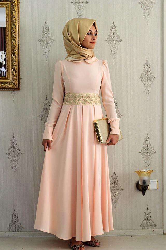 بالصور فساتين حلوة وناعمة , طويلة ومحتشمة للمحجبات , اجمل وارق ملابس الزى الاسلامى 444