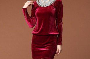 صورة فساتين قطيفة جميلة , سواريهات ثقيلة , اجمل ملابس فصل الشتاء