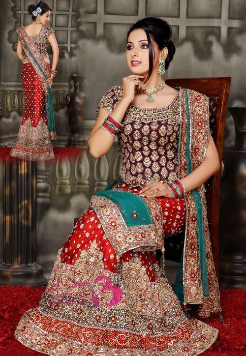 بالصور ازياء هندية للاعراس , جمال الالون يخطف العيون 339